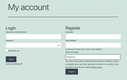 woocommerce_my_account Groups User Chooses