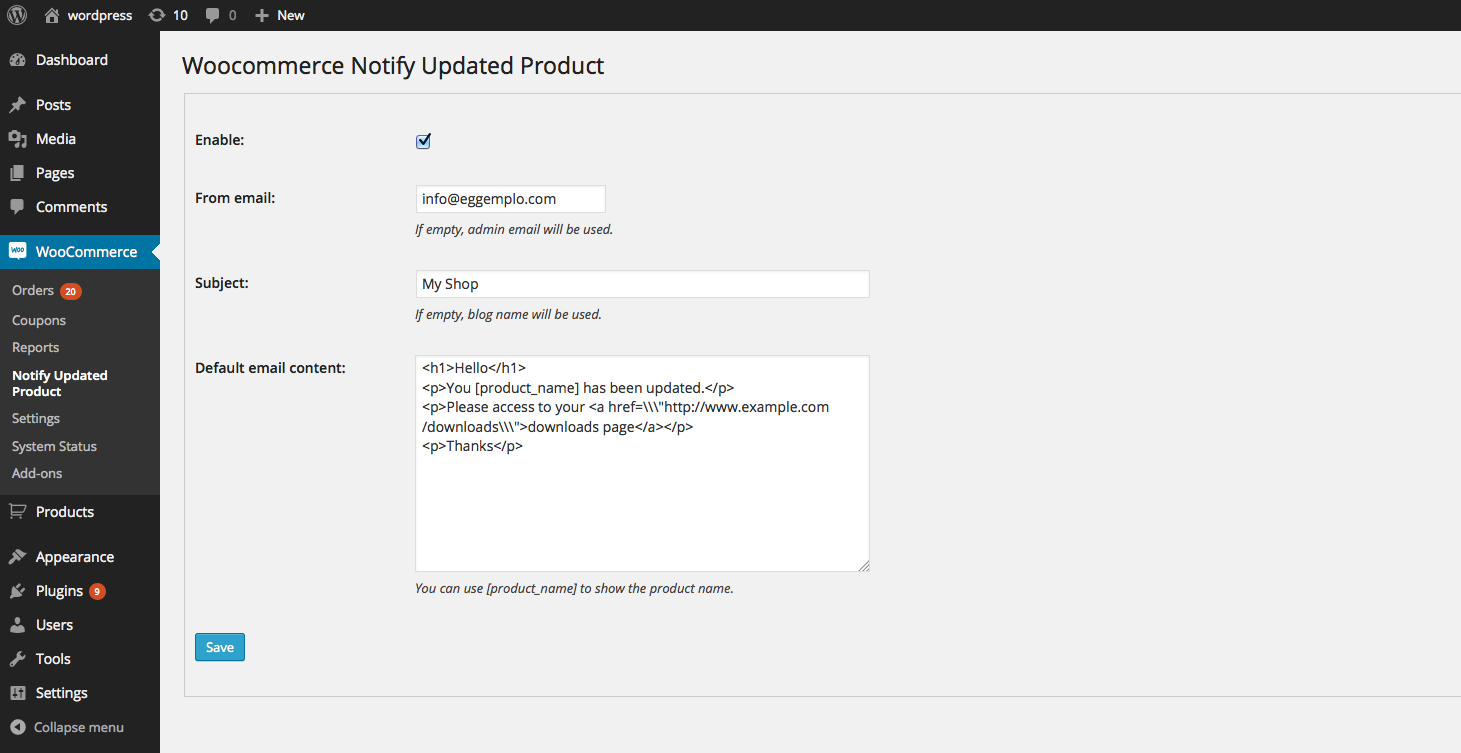 Woocommerce Notify Updated product settings