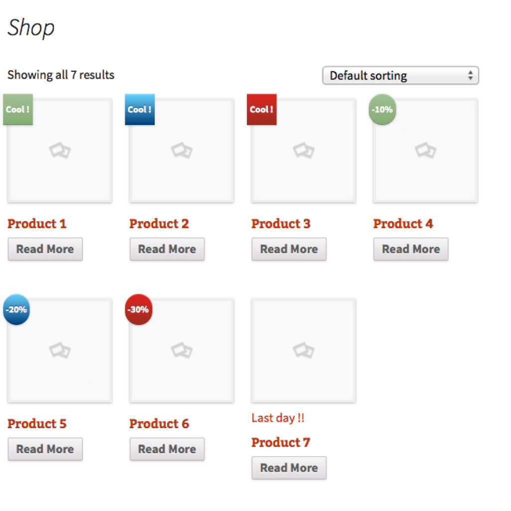 Woocommerce Product labeling shop page