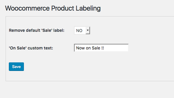 Woocommerce Product Labeling settings