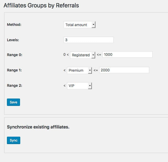Affiliates Groups by referrals