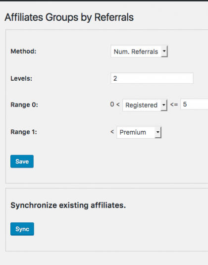 Affiliates Groups by referrals premium plugin
